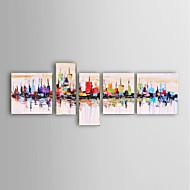billiga Stilleben-Hang målad oljemålning HANDMÅLAD - Abstrakt Landskap Stilleben fantasi Moderna Fem paneler