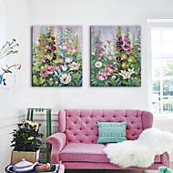 E-HOME® Stretched Canvas Art Flowers In Clusters Decoration Painting  Set of 2