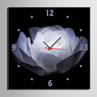 1 Pcs Creative Modern E-Home® White Flowers Clock In Analog Canvas