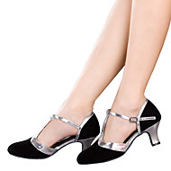 cheap Dancewear & Dance Shoes-Women's Dance Shoes Latin Velvet / Sparkling Glitter / Synthetic Cuban Heel Black / Brown / Silver / Gold