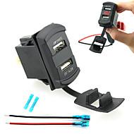 billiga Billaddare för mobilen-iztoss Dual USB billaddare enhet ledde digital display voltmeter med kablar och isolerad krymps kontakter