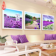 3PCS DIY 5D Diamonds Embroidery Three Lavender Landscape CUBE Painting Cross Stitch Kits Diamond Mosaic 132*45CM