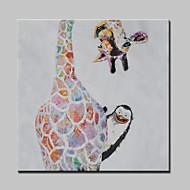 ציור שמן גדול ביד חית ג'ירפה המודרנית מופשטת צבועה בד עם מסגרת מתוח מוכנה לתלות