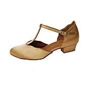 baratos Sapatilhas de Dança-Mulheres Sapatos de Dança Moderna Cetim / Courino Salto Presilha Salto Baixo Não Personalizável Sapatos de Dança Amêndoa / Preto / Caqui