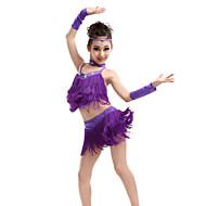 Latinské tance Úbory Výkon Polyester / Spandex Třásně / Křišťály / Bižuterie Bez rukávů Vysoký Vrchní deska / Sukně / Rukavice