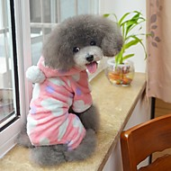 cheap -Cat Dog Hoodie Jumpsuit Pajamas Dog Clothes Polka Dot Black Pink Polar Fleece Costume For Pets Men's Women's Cute Casual/Daily