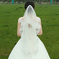 Two-tier Lace Applique Edge Wedding Veil Fingertip Veils 53 Satin Flower Ruched Tulle