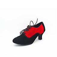 """billige Moderne sko-Dame Moderne Ballett Semsket lær Høye hæler Blondesøm Kubansk hæl Fuksia Svart og Gull Rød Svart/Hvit Svart 2 """"- 2 3/4"""" Kan ikke"""
