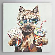 håndmalte oljemaleri dyr drikke cola og spise popcorn hunder med strukket ramme 7 veggen arts®