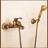 cheap Shower Faucets-Contemporary Centerset Waterfall Rain Shower Handshower Included Ceramic Valve One Hole Single Handle Two Holes Antique Copper, Shower