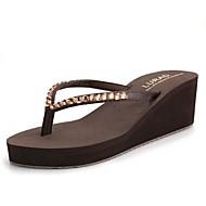 Damen Schuhe Kunststoff Sommer Keilabsatz Für Normal Schwarz Beige Braun Blau