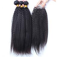Недорогие -Волосы Уток с закрытием Малазийские волосы Прямые 12 месяцев 4 предмета волосы ткет