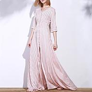Žene Praznik Ulični šik Swing kroj Haljina - S izrezom, Prugasti uzorak V izrez Maxi