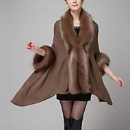 V-hals Moderne Stil Dame Ensfarvet Vintage Pelsfrakke Imiteret pels