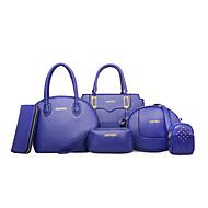 レディース バッグ PU 6個の財布セット のために ブルー ホワイト ブラック パープル フクシャ
