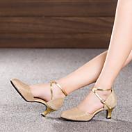 billige Moderne sko-Dame Moderne sko Glimtende Glitter / Paljett / Syntetisk Sandaler / Høye hæler / Joggesko Gummi / Spenne / Drapert Kubansk hæl Kan ikke spesialtilpasses Dansesko Grå / Brun / Gylden / Innendørs