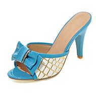 女性用 靴 PUレザー 春 夏 スティレットヒール リボン チェック のために アウトドア ドレスシューズ レッド ブルー ピンク