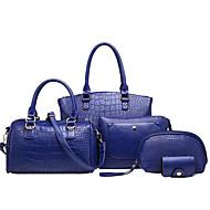 女性 バッグ 冬 PU 5個の財布セット のために カジュアル ブルー ブラック ルビーレッド