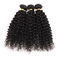 Human Hair Peruvian Natural Color Hair Weaves 300g Kinky Curly Curly Weave Hair Extensions 3 Pieces natural black Black