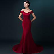 Havfrue Off-the-skulder Børsteslæb Satin Formel aften Kjole med Plissé ved TS Couture®