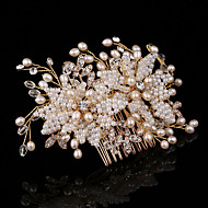 cheap Wedding Headpieces-Pearl Rhinestone Alloy Hair Combs Flowers 1 Wedding Special Occasion Outdoor Headpiece