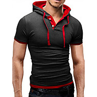cheap Men's hoodies-Men's Sports Basic T-shirt - Color Block Hooded / Short Sleeve / Skinny