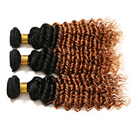 Gerçek Saç Düz Brezilya Saçı Ombre Kıvırcık Kıvırcık Dalgalar Saç uzatma 3 Parça # T1B 30