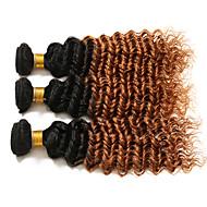 Echthaar Brasilianisches Haar Ombre Lockig Ringellocken Haarverlängerungen 3 Stück # T1B 30