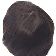 """Cilt baz toupees stokta 8 """"x10"""" erkek toupees doğal düz saç rengi 1b"""
