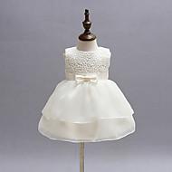 Baby Pige Rosette / Pænt tøj Fest Ensfarvet Uden ærmer Kjole