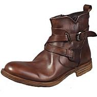 baratos Sapatos de Tamanho Pequeno-Homens Fashion Boots Pele Napa Outono / Inverno Conforto / Botas de Moto Botas Castanho Claro / Festas & Noite