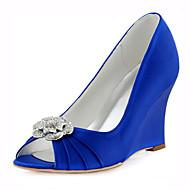 baratos Sapatos Femininos-Mulheres Sapatos Cetim com Stretch Primavera / Verão Saltos Salto Plataforma Cristais Azul Escuro / Rosa claro / Azul Real / Casamento