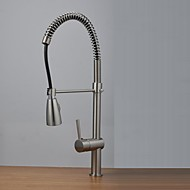 Contemporary Single Handle Nickel Brushed Pull-Out   Kitchen Faucets with Shower Head