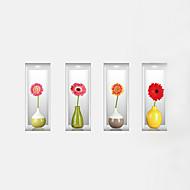 Bloemen Wall Stickers 3D Muurstickers Decoratieve Muurstickers,PVC Materiaal Wasbaar / Verwijderbaar / Verstelbaar Huisdecoratie