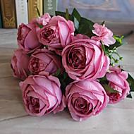 1 Gren Polyester Plastikk Roser Bordblomst Kunstige blomster 57 x 10(22.4'' x 3.9'')