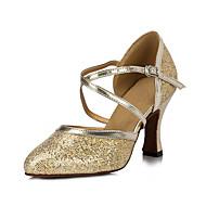 billige Moderne sko-Dame Moderne sko Velourisert Sandaler / Høye hæler Gummi / Spenne Utsvingende hæl Kan ikke spesialtilpasses Dansesko Gylden / Innendørs