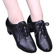 billige Moderne sko-Dame Moderne sko / Ballett Kunstlær Høye hæler Snøring / Uthult Lav hæl Dansesko Svart / Rød