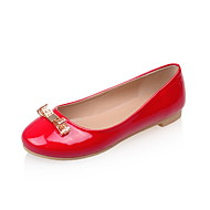 Women's Summer Fall Comfort PU Outdoor Office & Career Dress Flat Heel Bowknot Sparkling Glitter Black Red White
