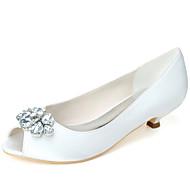 Žene Cipele Saten Proljeće Ljeto Obične salonke Vjenčanje Cipele Sitna potpetica Peep Toe Štras za Vjenčanje Zabava i večer Srebro Crvena