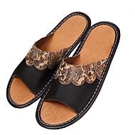 baratos Rasteirinhas e Chinelos Femininos-Unisexo Sapatos Pele Courino Verão Conforto Sem Salto Dedo Aberto para Preto
