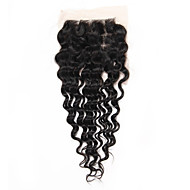 "1 Piece 4""x4"" Brazilian Human Hair Lace Closure Deep Wave Virgin Remy Hair Three Part Middle Part Freestyle Closure"