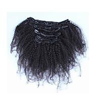 """10 """"-26"""" filipino clipe afro-americana Kinky encaracolados 7pcs cabelo filipino africano em extensões de cabelo humano real"""