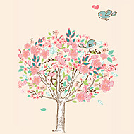 cheap Wall Stickers-Romance Love Flower Tree With Birds Wall Stickers Fashion Removable Living Room Bedroom Wall Decals