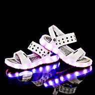 女の子-カジュアル-レザー-フラットヒール-靴を点灯-サンダル-ホワイト ブラック イエロー ブルー