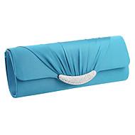 baratos Clutches & Bolsas de Noite-Mulheres Bolsas Cetim Bolsa de Festa / Dobra Tripla Cristal / Strass Sólido Azul / Vinho / Amêndoa