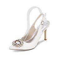 お買い得  靴 プラスサイズ-女性用 靴 サテン シルク 春 夏 ヒール スティレットヒール ラインストーン のために 結婚式 パーティー ブルー ピンク ゴールデン ライトブラウン クリスタル