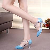 baratos Sapatilhas de Dança-Mulheres Sapatos de Dança Moderna Glitter Salto Presilha / Vazados Salto Personalizado Personalizável Sapatos de Dança Marron / Dourado / Azul Claro / Interior / Espetáculo