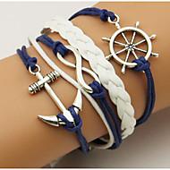 Heren Dames Wikkelarmbanden loom Bracelet Dubbele laag Bohemia Style Verstelbaar Legering Geometrische vorm Anker Sieraden Voor Dagelijks