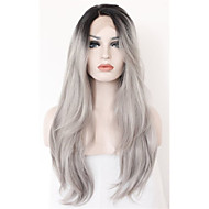 Long Natural Wave Ombre Black Root to Grey Lace Front Wig Synthetic Hair Wig for Women Half Hand Tied