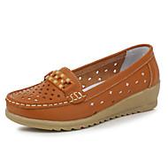 Damă Pantofi Flați Confortabili Piele Primăvară Vară Casual Plimbare Toc Plat Alb Galben Maro Plat
